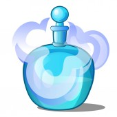 Glass bottle with scented liquid. Vector illustration.