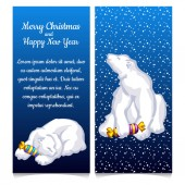 Dual vertical card with snow bear with sweet candy Sketch for greeting card festive poster or party invitation with space for your text The attributes of Christmas and New year Vector illustration