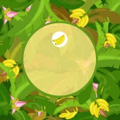Round frame with space for your text decorated with leaves and ripe bananas Vector cartoon close-up illustration