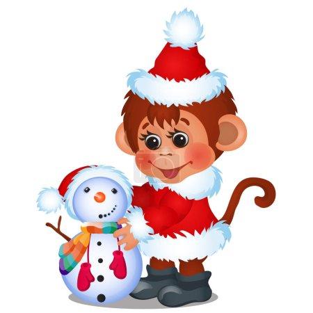 Illustration pour Mignon singe habillé en Père Noël sculpte bonhomme de neige isolé sur un fond blanc. Croquis de Noël affiche festive, invitation de fête, autre carte de vacances. Illustration en gros plan de dessin animé vectoriel - image libre de droit