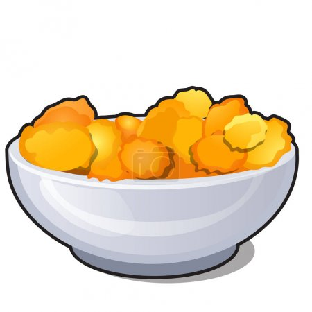 Ceramic bowl with corn flakes isolated on white background. Organic food healthy diet and fitness menu.