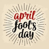 April fool's day calligraphic handwriting lettering Vector black and red illustration
