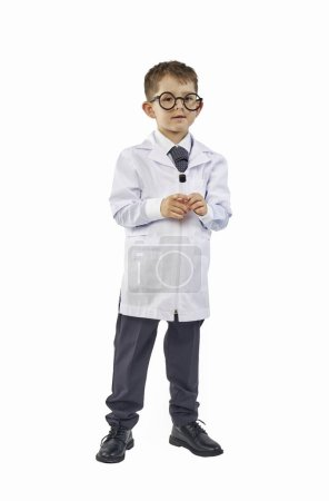 Photo for Little boy scientist in eyeglasses and lab coat - Royalty Free Image