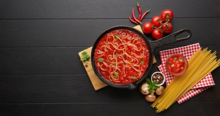 Photo for Cooking homemade Italian pasta, Italian food background. Italian cuisine. Ingredients on dark background. Cooking concept. Cooking background - Royalty Free Image