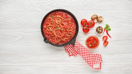 Photo for Homemade Italian pasta, Italian food background. Italian cuisine. Ingredients on dark background. Cooking concept. Cooking background - Royalty Free Image