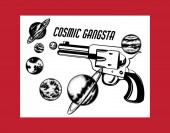 Cosmic gangsta Vector hand drawn illustration of handgun with planets Creative tattoo artwork Template for card poster banner print for t-shirt pin badge patch