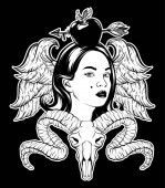 Vector hand drawn illustration of pretty girl with wings apple with aeeow ram skull Tattoo artwork Template for card poster banner print for t-shirt pin badge patch