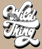 Wild thing Vector hand drawn lettering with illustration of zebra isolated