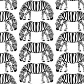 Vector pattern with hand drawn illustration of zebra with two heads