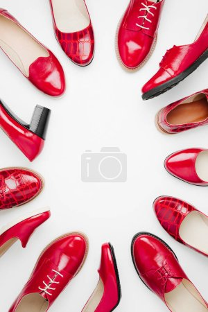 Photo for Stylish female spring or autumn shoes in red colors. Beauty and fashion concept. Flat lay, top view - Royalty Free Image