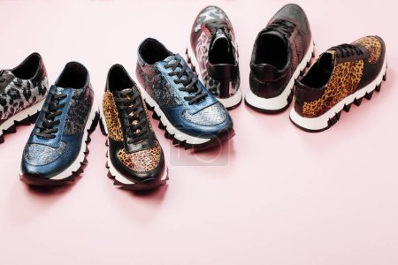 Stylish various sneakers. Fashion design