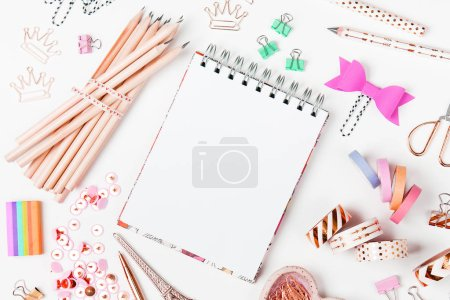 Notebook mockup and School stationery. Flat lay, top view trendy back to school concept