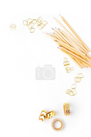 Photo for Pencils on white table, Business Stationery concept. Flat lay, top view - Royalty Free Image