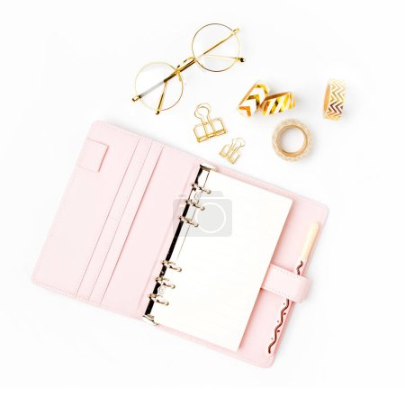 Photo for Pink planner with Business Stationery concept. Flat lay, top view - Royalty Free Image