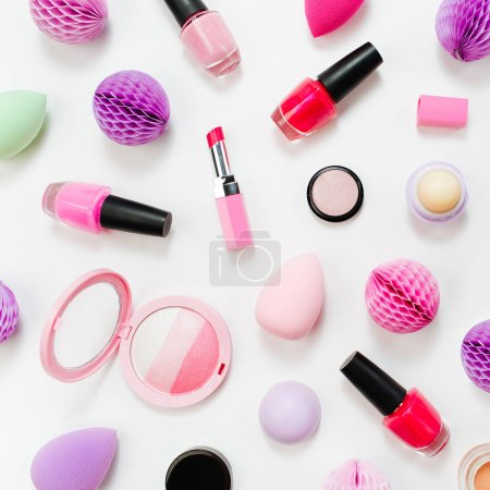 Set of beauty accessory and makeup cosmetic products. Flat lay