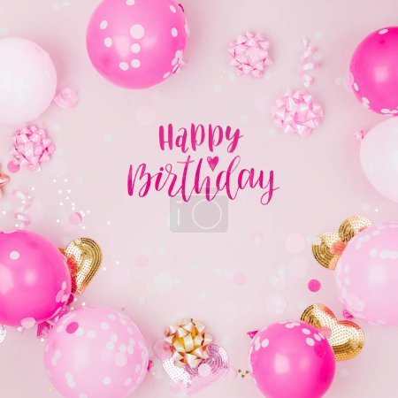 Photo for Pink balloons, decorations and happy birthday lettering - Royalty Free Image
