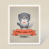 World animal day Vector card with a line art cute animal cat and ribbon Stamp Mark Postcard