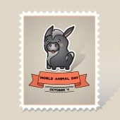 World animal day Vector card with a line art cute animal donkey and ribbon on gray background Stamp Mark Postcard