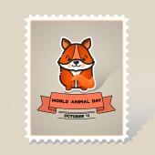 World animal day Cute animal fox Vector card with a line art cute animal fox and ribbon Stamp Mark Postcard