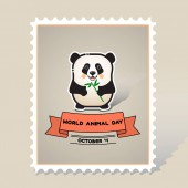 World animal day Vector card with a line art cute animal panda bear and ribbon on gray background Stamp Mark Postcard