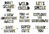 Set of phrases in scandinavian style Hand drawn lettering collection Vector illustration
