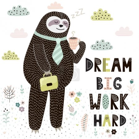 Illustration for Dream Big Work Hard print with cute sloth. Funny card with motivational quote. Vector illustration - Royalty Free Image