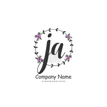 Illustration for Initial J A JA handwriting and signature logo design with circle. Beautiful design handwritten logo for fashion, team, wedding, luxury logo. - Royalty Free Image