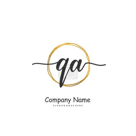 Illustration for Initial Q A QA handwriting and signature logo design with circle. Beautiful design handwritten logo for fashion, team, wedding, luxury logo. - Royalty Free Image