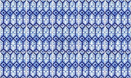 Photo pour Sans couture Portugal ou Espagne Azulejo Tile Background. Haute résolution . - image libre de droit