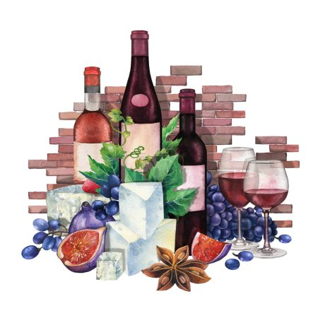 Photo pour Bouteilles aquarelle et verres de vin rouge décorés de fromage, raisins bleus, figues, fraises et anis étoilé avec mur de briques sur le fond. Illustration isolée peint à la main - image libre de droit