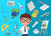 Flat style of diligent schoolboy character in glasses surrounded with various icons of school subjects on blue background Academic specialization choosing