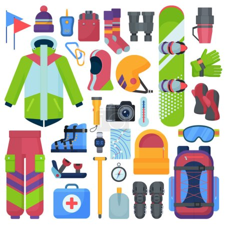 Mountain snowboarding equipment vector icons set isolated.