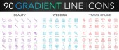120 trendy gradient vector thin line icons set of Beauty Wedding Travel Cruise icon