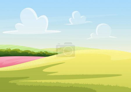 Illustration for Clouds floating on blue sky over peaceful field with green grass vector illustration landscape - Royalty Free Image