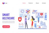 Smart healthcare vector landing page template