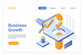 Business growth isometric landing page template Company development strategy Money tree growing in lab tube financial stability metaphor Increasing income solutions website page design layout