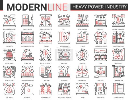 Photo for Heavy power industry complex concept thin red black line icon vector set with outline infographic industrial manufacturing symbols of metallurgy, chemical plant and factory, electricity production - Royalty Free Image