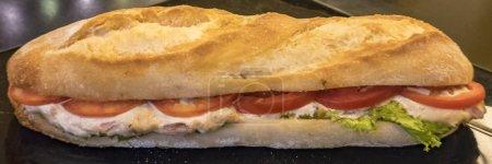 Photo pour Longue baguette française croustillante avec garniture de salade de thon aux tomates en format bannière panoramique - image libre de droit