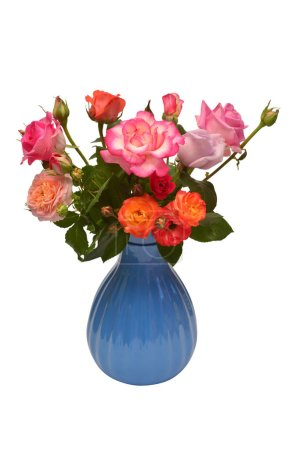 Flower arrangement in bouquet of roses in a vase isolated on white background. Floral pattern, still-life, object. Flat lay, top view. Pink, purple, orange