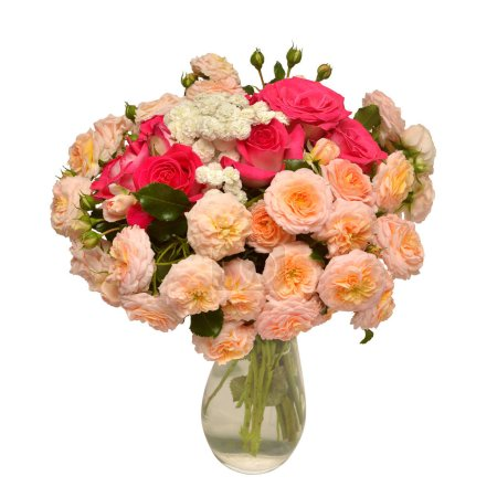 Bouquet of beautiful roses and yarrow in vase isolated on white background. Flowers. Spring. Flat lay, top view. Love. Valentine's Day. Easter. Wedding card. Object