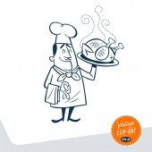 Vintage Style Clip Art - Chef presenting his big roasted chicken on a large plate - Vector EPS10