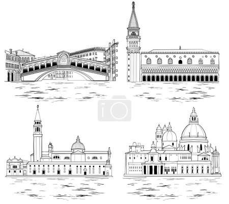 Venice landmarks and tourist attractions set. Vect...