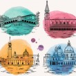 Venice watercolor landmarks and tourist attraction...