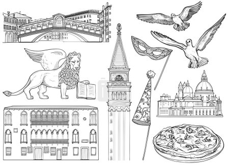 Black and white set of Venice sketch. Vector illustration. Famous Venice monuments