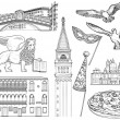 Black and white set of Venice sketch. Vector illus...