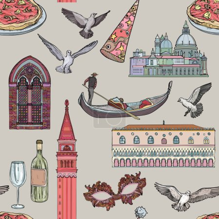 Seamless pattern with Venice set and tourist attra...