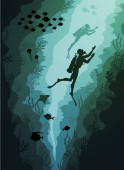 Coral reef and Underwater, Divers and fish algae on blue sea background