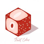 Isometric strawberry cube with shadow Colorful vector food illustration for healthy food cafe restaurant fruits and grocery market