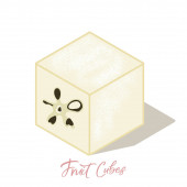 Isometric apple frut cubes with shadows Colorful vector food illustration for healthy food cafe restaurant fruits and grocery market