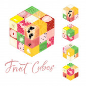Collection of Isometric frut cubes on white background Colorful vector food illustration for healthy food cafe restaurant fruits and grocery market